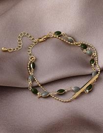 Fashion Gold Color One Word Drop Oil Geometric Double-layer Bracelet