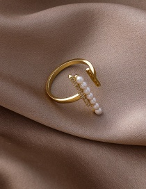 Fashion Gold Color Pearl Micro Inlaid Zircon Word Open Ring