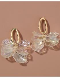 Fashion Transparent Color Shaped Oval Hollow Transparent Petal Earrings
