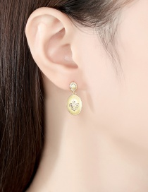 Fashion Gold Color Copper Inlaid Zircon Round Earrings