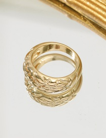 Fashion Number 7 Alloy Plating Spiral Striped Diamond Ring