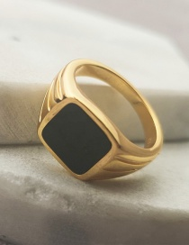 Fashion Number 6 Titanium Steel Gold Plated Square Alloy Ring