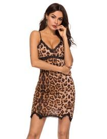Fashion Leopard Large Leopard Print Lace Stitching Suspender Skirt Pajamas