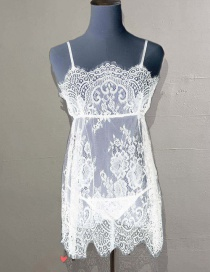 Fashion White Lace Perspective Suspender Nightdress With Thong