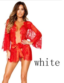Fashion White Transparent Lace Hollow Lace Underwear Nightgown