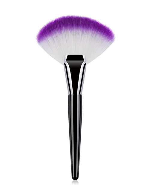 Fashion Black Wood Single Aluminum Tube And Wooden Handle Nylon Hair Fan-shaped Makeup Brush