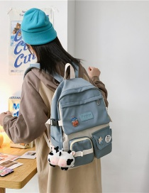 Fashion Blue With Pendant Contrasting Color Large Capacity Nylon Backpack