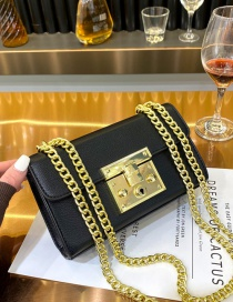 Fashion Black One-shoulder Crossbody Bag With Lock Chain