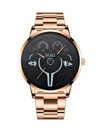Fashion Rose Gold Color Black Large Dial Steel Band Calendar Quartz Men S Watch