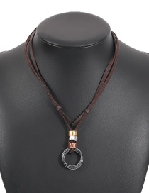 Fashion Brown Alloy Pu Ring Contrast Color Necklace