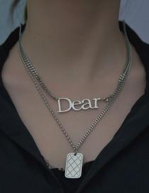 Fashion Alphabet Necklace Square Letter Titanium Steel Pendant Double Necklace