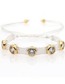 Fashion Beaded White Diamond Natural Shell Love Rice Beads Hand-woven Bracelet