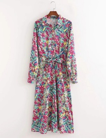 Fashion Printing Printed Belted Long Sleeve Dress
