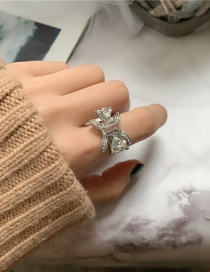 Silver Color Butterfly Diamond Pearl Ring
