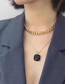 Gold Color Square Alloy Multilayer Necklace With Gems