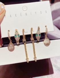 Real Gold Plated Set Of 6 Micro-set Zircon Serpentine Geometric Earrings