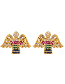 Angel Diamond And Gold-plated Letter Angel Earrings