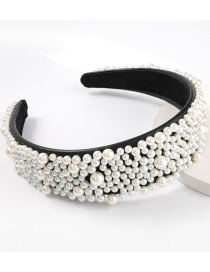 Fashion Pearl Faux Leather Inlaid Pearl Wide Headband