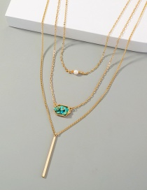 Fashion Gold Color Natural Turquoise Geometric Alloy Multilayer Necklace