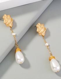 Fashion Gold Color Long Tassel Irregular Shaped Pearl Earrings
