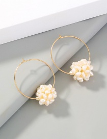 Fashion Gold Color Hoop Shaped Natural Pearl Ball Earrings