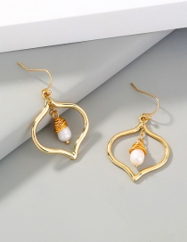 Fashion Gold Color Gold And Copper Wire Wrapped Natural Pearl Love Earrings