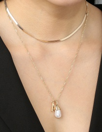 Fashion Gold Color Letter Alloy Shaped Pearl Pendant Necklace