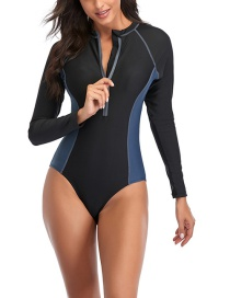 Fashion Dark Blue Stitching Contrast Color Long-sleeved Zipper One-piece Swimsuit Wetsuit