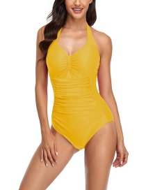 Fashion Yellow Halter Tie Solid Color Pleated One-piece Swimsuit