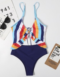 Fashion Navy Blue Rainbow Striped High-waisted Swimsuit