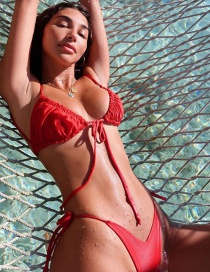 Fashion Red Frilled Tether Split Swimsuit