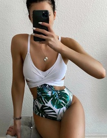 Fashion White Leaf Print Cross Cutout One-piece Swimsuit