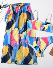 Fashion Yellow Printed Knotted Split Swimsuit Three-piece Veil