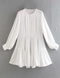 Fashion White Round Neck Single-breasted Pleated Loose Dress