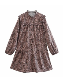 Fashion Brown Leopard Print Dress With Wooden Ears