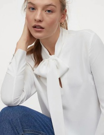 Fashion White Loose Solid Color Top With Tie Tie
