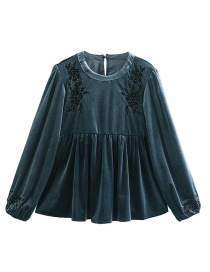 Fashion Blue Velvet Embroidery Round Neck Stitching Loose Top