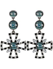 Fashion Black And White Diamond Eye Geometry Alloy Earrings