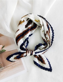 Fashion Harness Blue Pleated Silk-like Printed Small Square Scarf