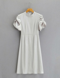 Fashion Gray Stand-up Collar Puff Sleeve Pleated Dress