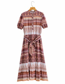 Fashion Printing Printed Belt Contrast Dress