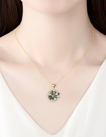 Fashion 18k Round Gold-plated Copper Necklace With Diamond Pearl And Starfish