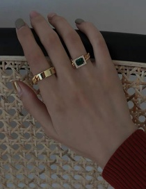 Fashion Gold Color Chain Diamond Geometric Alloy Ring
