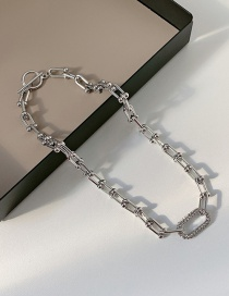 Fashion Silver Color Ot Buckle Stitching Diamond Geometric Necklace
