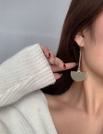 Fashion Gold Color Half-round Gold-plated Fan-shaped Alloy Earrings