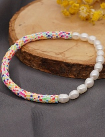 Fashion Color Mixing 4mm Soft Ceramic Piece Natural Freshwater Pearl Beaded Bracelet