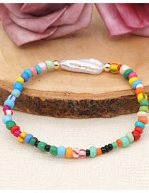 Fashion Color Mixing Rice Beads Natural Freshwater Pearl Beaded Geometric Bracelet
