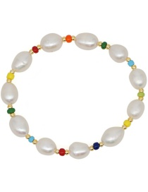 Fashion Color Natural Freshwater Pearl Gold Bead Beaded Bracelet