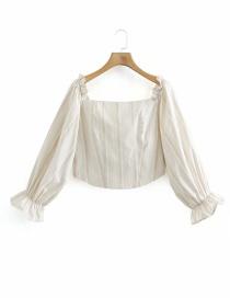 Fashion White Flared Sleeve Striped Square Collar Shirt