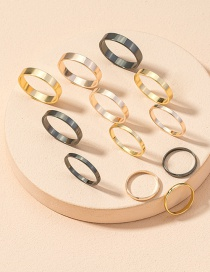 Fashion Golden Color Alloy Round Contrast Color Joint Ring Set